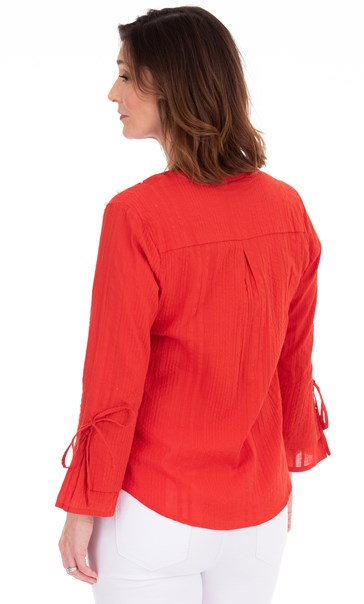 Faux Pearl Embellished Cotton Top Red - Gallery Image 2