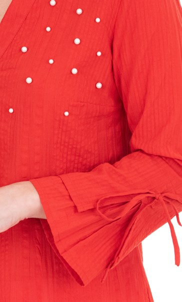 Faux Pearl Embellished Cotton Top Red - Gallery Image 3