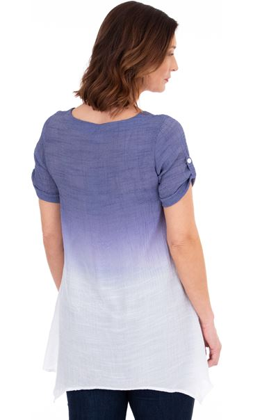 Ombre Dip Hem Tunic Thistle/White - Gallery Image 2