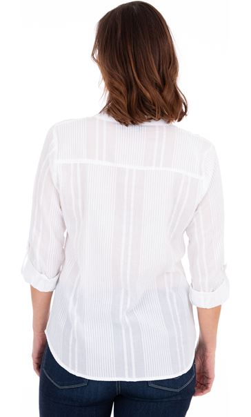 Turn Sleeve Cotton Top White - Gallery Image 2