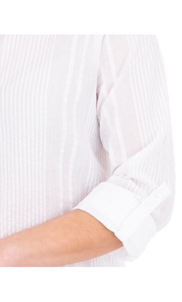 Turn Sleeve Cotton Top White - Gallery Image 3