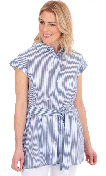 Short Sleeve Striped Tunic White/Blue - Gallery Image 3