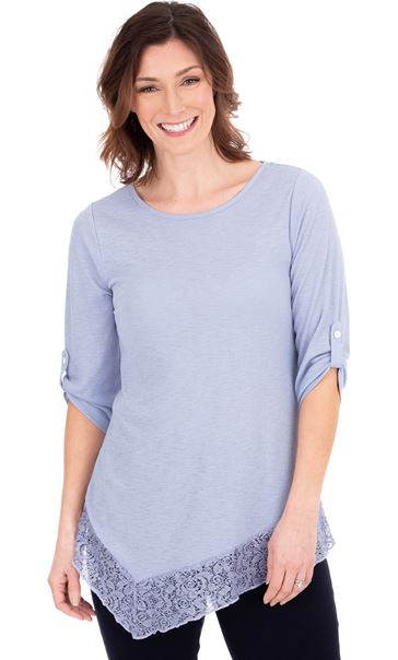 Lace Trim Round Neck Tunic Light Thistle - Gallery Image 1