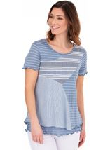 Short Sleeve Layered Patchwork Stripe Top