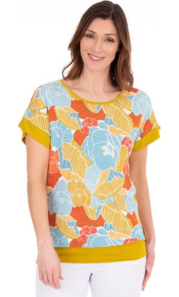 Short Sleeve Printed Jersey Top Pear/Sea Blue/Orange - Gallery Image 1