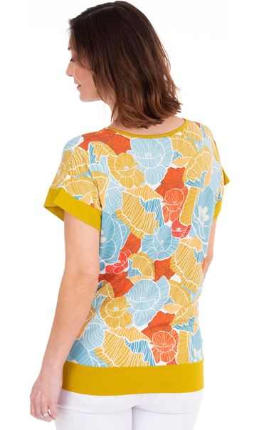 Short Sleeve Printed Jersey Top Pear/Sea Blue/Orange - Gallery Image 2