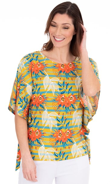 Floral And Striped Jersey Top Pear/Sea Blue/Orange
