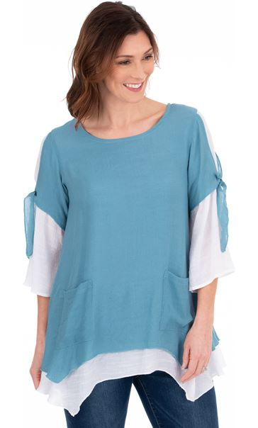 Double Layer Dip Hem Tunic