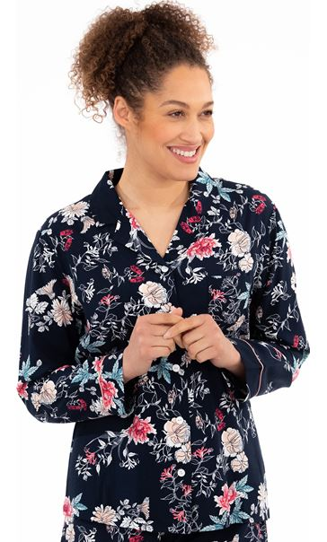 Long Sleeve Floral Print Pyjama Top Navy Floral
