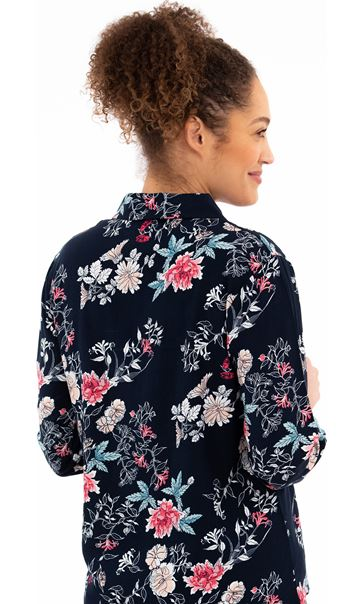 Long Sleeve Floral Print Pyjama Top Navy Floral - Gallery Image 2