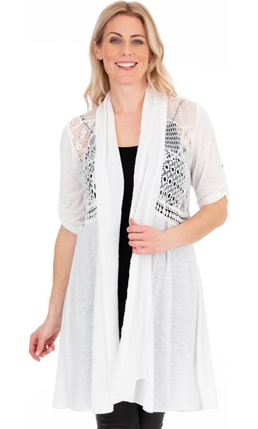Longline Three Quarter Sleeve Lace Trim Cardigan White - Gallery Image 1