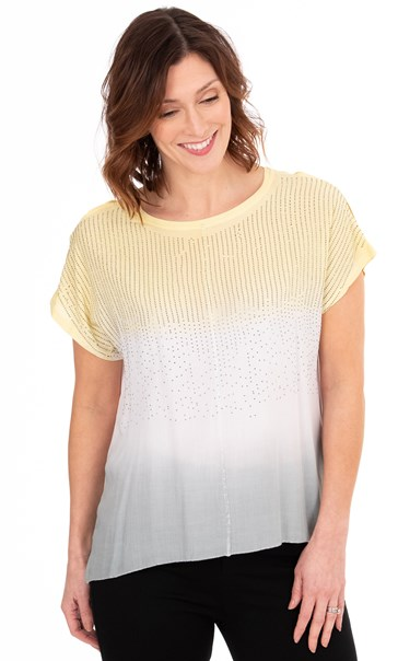 Embellished Ombre Short Sleeve Top Yellow/Ivory/Grey