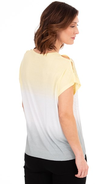 Embellished Ombre Short Sleeve Top Yellow/Ivory/Grey - Gallery Image 2