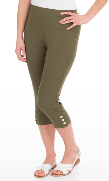Cropped Pull On Stretch Trousers