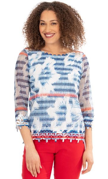 Crochet And Knit Print Top Blue/Red