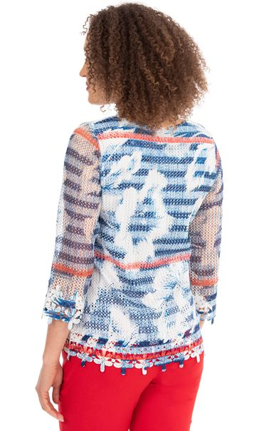 Crochet And Knit Print Top Blue/Red - Gallery Image 2