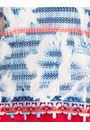 Crochet And Knit Print Top Blue/Red - Gallery Image 3