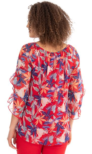 Printed Chiffon Top Red/Blue - Gallery Image 2