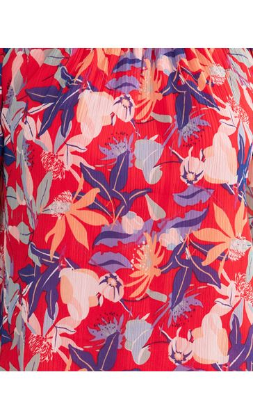 Printed Chiffon Top Red/Blue - Gallery Image 3