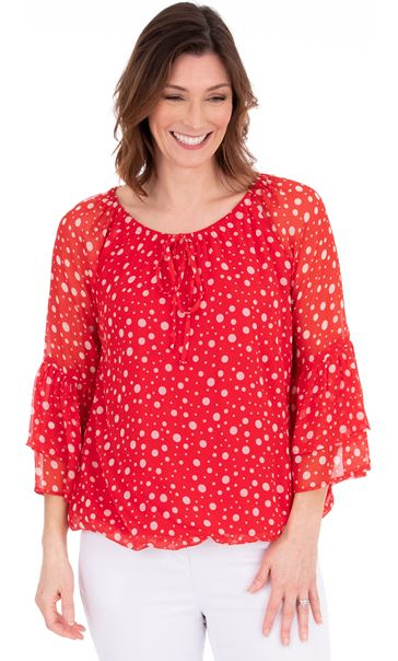 Spotted Crinkle Chiffon Top Red/White