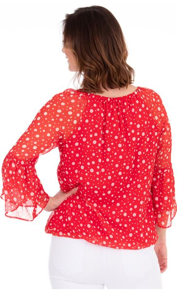 Spotted Crinkle Chiffon Top Red/White - Gallery Image 2