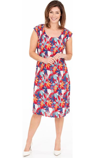 Floral Print Pleated Dress Red/Blue