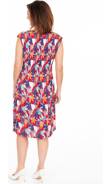 Floral Print Pleated Dress Red/Blue - Gallery Image 2