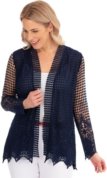 Long Sleeve Open Front Crochet Cardigan