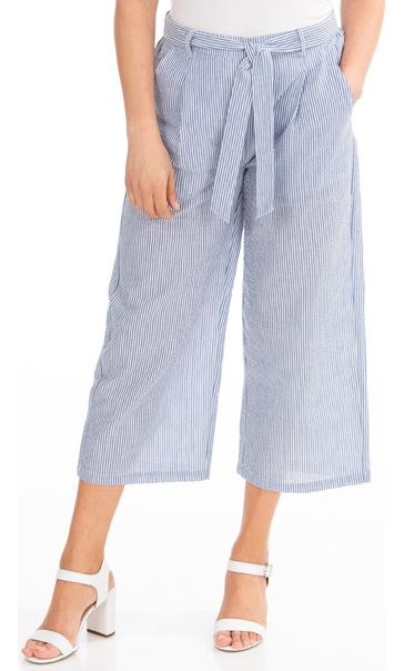 Wide Leg Striped Cropped Trousers White/Blue