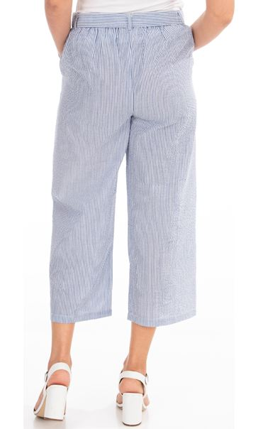 Wide Leg Striped Cropped Trousers White/Blue - Gallery Image 2
