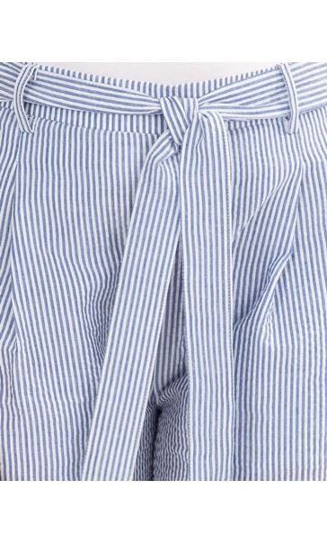 Wide Leg Striped Cropped Trousers White/Blue - Gallery Image 3