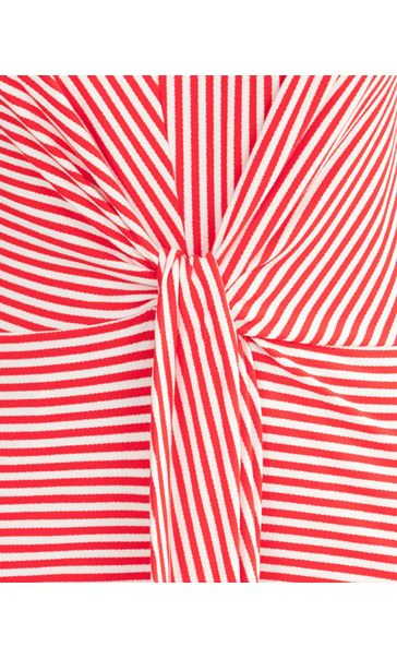 Striped Tie Front Jersey Top Red/White - Gallery Image 3