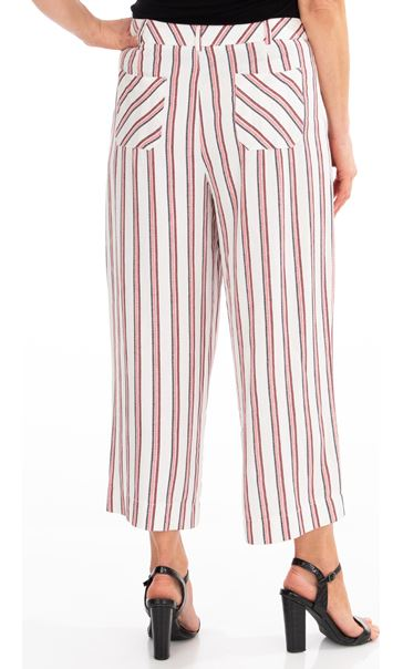 Striped Wide Leg Cropped Trousers Cream/Red/Black - Gallery Image 2