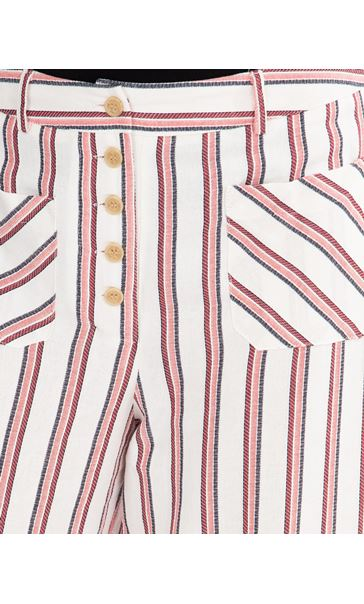 Striped Wide Leg Cropped Trousers Cream/Red/Black - Gallery Image 3