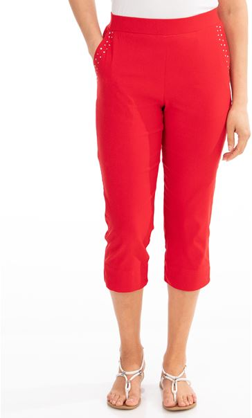 Embellished Cropped Trousers - Red