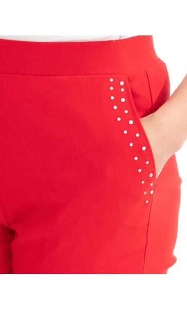 Embellished Cropped Trousers Red - Gallery Image 3