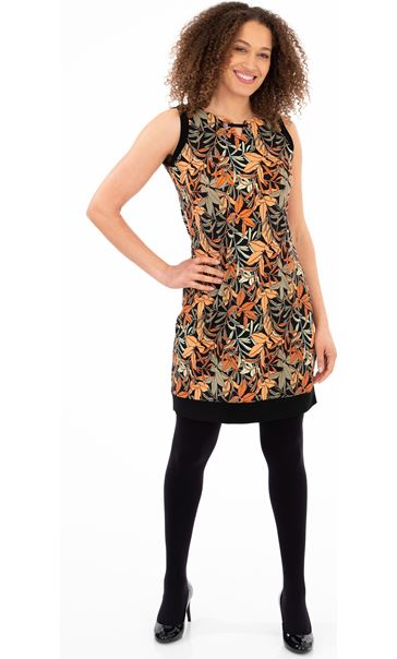 Printed Sleeveless Stretch Dress Black/Salmon