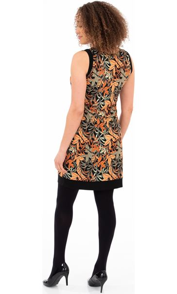 Printed Sleeveless Stretch Dress Black/Salmon - Gallery Image 2