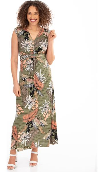 Leaf Printed Jersey Maxi dress Khaki