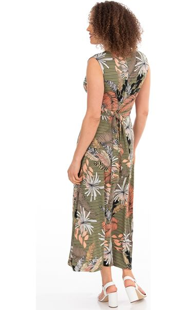 Leaf Printed Jersey Maxi dress Khaki - Gallery Image 2