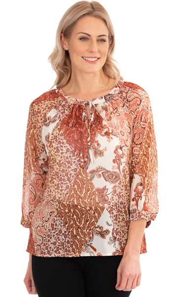 Paisley Print Georgette Top Oranges