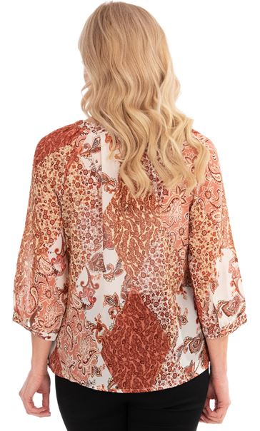 Paisley Print Georgette Top Oranges - Gallery Image 2
