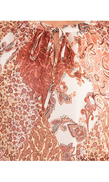 Paisley Print Georgette Top Oranges - Gallery Image 3
