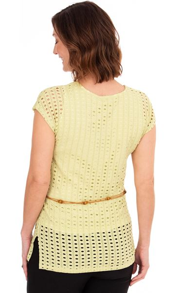 Cut Out Layered Belted Tunic - Pale Lime