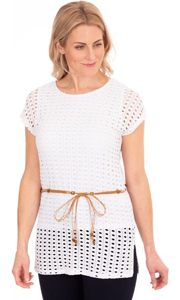 Cut Out Layered Belted Tunic - White