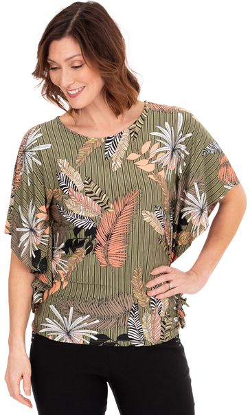 Leaf Printed Jersey Top Khaki/Salmon - Gallery Image 1