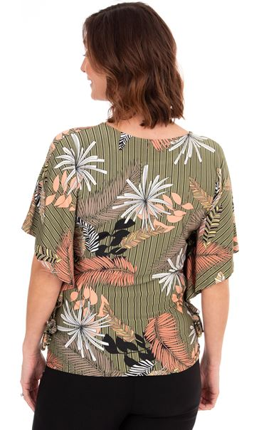 Leaf Printed Jersey Top Khaki/Salmon - Gallery Image 2