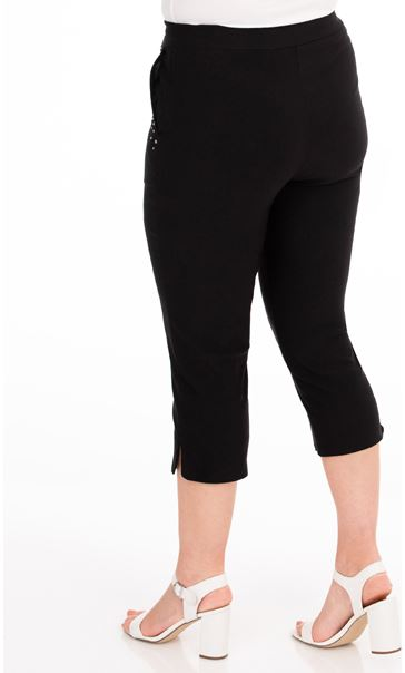 Embellished Cropped Trousers - Black