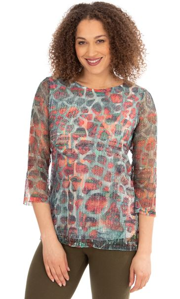 Printed Crochet Round Neck Top Khaki/Salmon