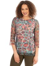 Printed Crochet Round Neck Top